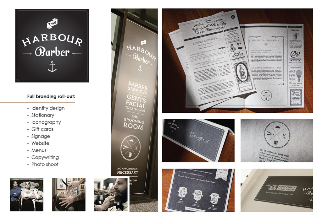 Graphic design award entry for the branding of The Harbour Barber in Cleveland, Brisbane, Queensland, Australia