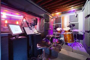 A drum room in a recording studio