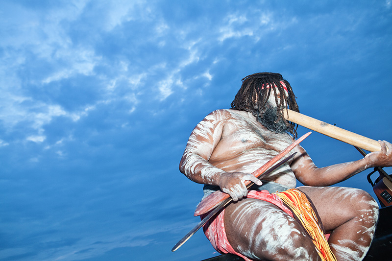 A Gold Coast Aboriginal didgeridoo player opens the inaugural Big Blue Sky event on the Gold Coast, November 5th, 2015