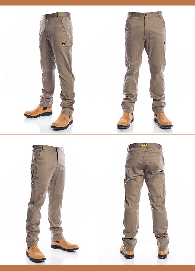 Images of workwear trousers from multiple angles, photographed against a pure white background.