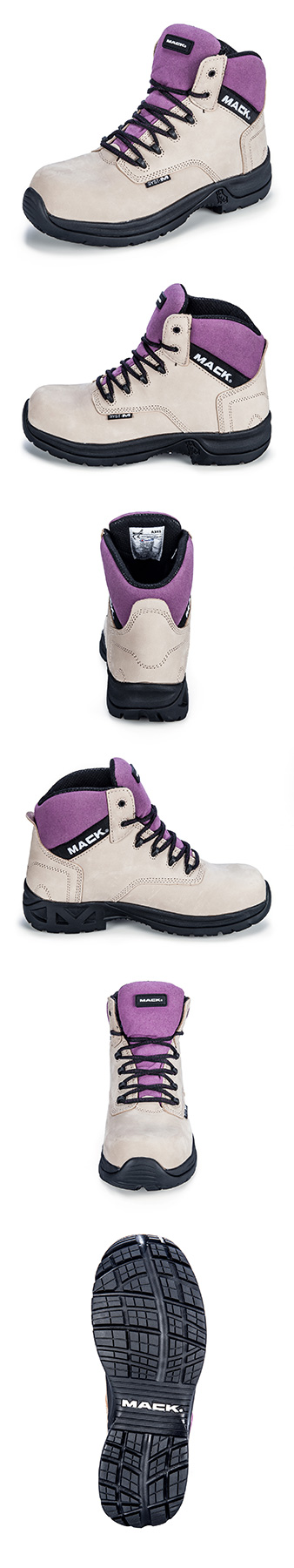 Images of ladies (purple and beige) workwear boots from multiple angles, photographed against a pure white background.